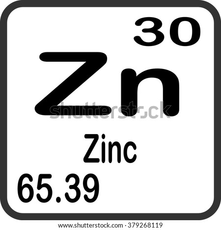Periodic Table Elements Zinc Stock Vector Royalty Free 379268119