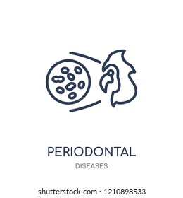 Periodontal disease icon. Periodontal disease linear symbol design from Diseases collection. Simple outline element vector illustration on white background.