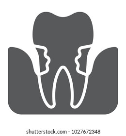 Periodontitis glyph icon, stomatology and dental, periodontal tooth sign vector graphics, a solid pattern on a white background, eps 10.