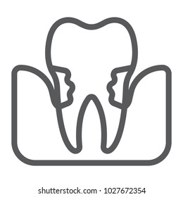 Periodontitis line icon, stomatology and dental, periodontal tooth sign vector graphics, a linear pattern on a white background, eps 10.