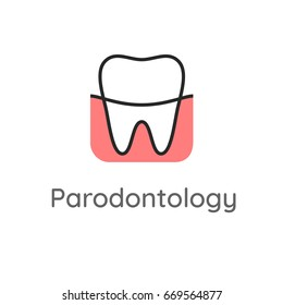 Periodontology. Teeth and gums. Dental icon. Web pictogram for dentistry. Stomatology concept, logo or illustration. Dentistry department label. Tooth with gum line style.