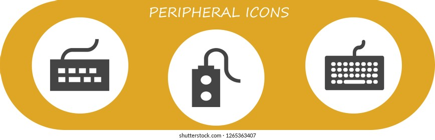 peripheral icon set. 3 filled peripheral icons. Simple modern icons about  - Keyboard, Controller