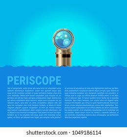 Periscope Background, Sea Waves Vector Background. Metal periscope with a Sparkling Lens in the Waves Above the Water. Spy or Surveillance Concept. Ideal for Poster or Web Banner.