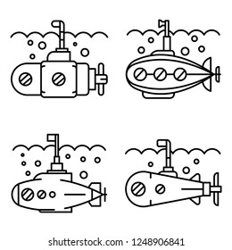 Periscope icon set. Outline set of periscope vector icons for web design isolated on white background