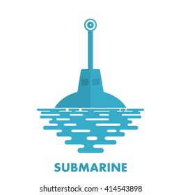 Periscope military submarine with sea water on a white background. Icon military submarine. Symbol of the military submarine fleet. Flat periscope of a submarine at sea. Stock vector