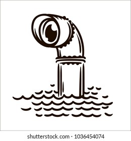 Periscope simple sketch illustration on white background