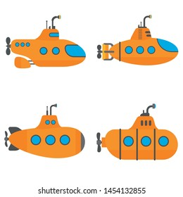 Periscope submarine icons set. Flat set of periscope submarine vector icons for web design