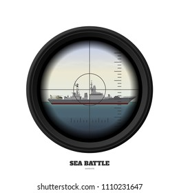 Periscope of submarine. Military weapon view. Sea battle. Warship image. Battleship in ocean. Vector illustration