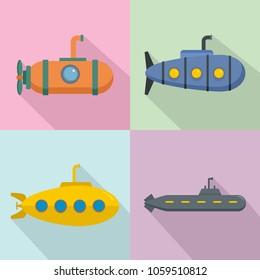 Periscope submarine telescope icons set. Flat illustration of 4 periscope submarine telescope vector icons for web