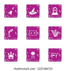 Perish icons set. Grunge set of 9 perish vector icons for web isolated on white background