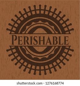 Perishable wood icon or emblem