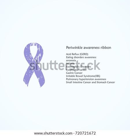 Periwinkle Awareness Ribbon Painted Acid Reflux Stock Vector