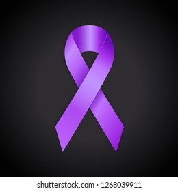 Periwinkle ribbon on black background. Eating Disorder, Bulimia and other awareness symbol. - Vector