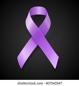 Periwinkle ribbon on black background. Eating Disorder, Bulimia and other awareness symbol.