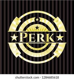 Perk golden emblem or badge