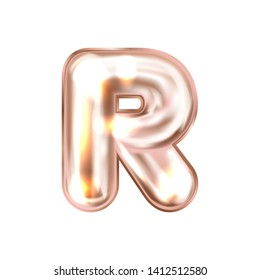Perl pink foil inflated alphabet symbol, isolated letter R