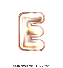 Perl pink foil inflated alphabet symbol, isolated letter E