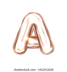 Perl pink foil inflated alphabet symbol, isolated letter A