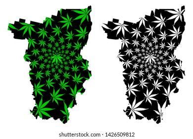 Perm Krai (Russia, Subjects of the Russian Federation, Krais of Russia) map is designed cannabis leaf green and black, Perm Krai map made of marijuana (marihuana,THC) foliage,