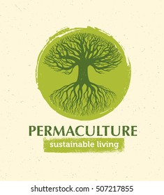 Permaculture Sustainable Living Creative Vector Design Element Concept. Old Tree With Roots Inside Rough Circle On Organic Paper Background