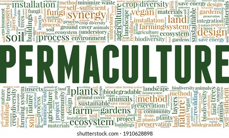Permaculture vector illustration word cloud isolated on a white background.
