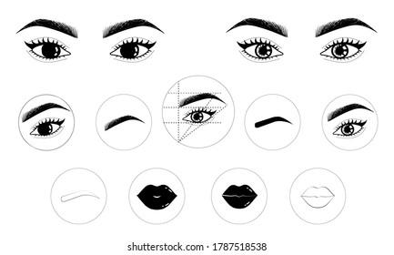 Permanent makeup icons set storys, eyes, lash, lips, brows