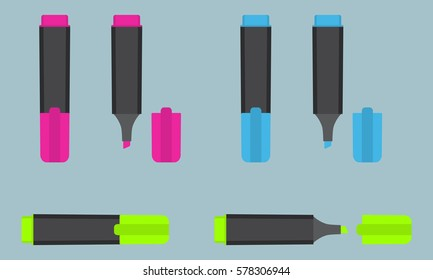 Permanent text highlight marker in three different colors: pink, blue, green. Office stationery. Flat style vector illustration