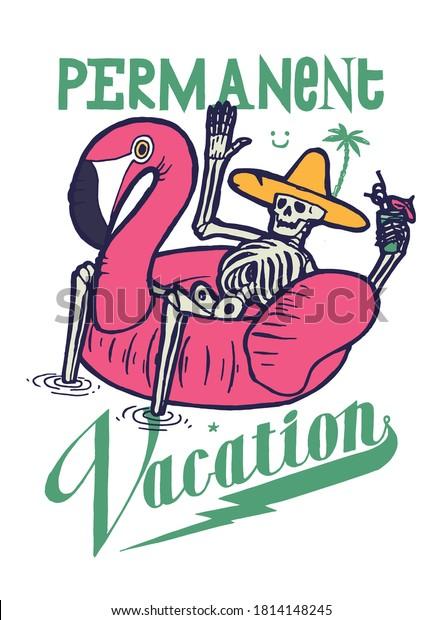 permanent-vacation-tshirt-print-skeleton