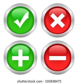 Permission buttons set, vector illustration