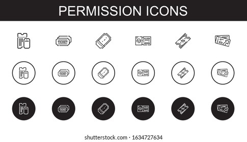 permission icons set. Collection of permission with boarding pass, tickets, ticket. Editable and scalable permission icons.