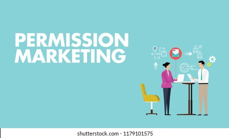 Permission Marketing - Can Use For Marketing Campaign, Business Presentation, U-tube, Website, Blog, Mobile, Commercial, Editorial, And Others. Vector.