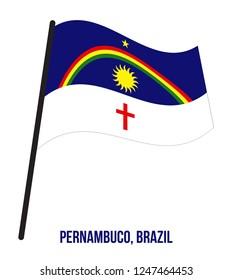 Pernambuco Flag Waving Vector Illustration on White Background. States Flag of Brazil.