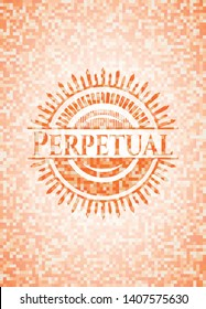 Perpetual abstract orange mosaic emblem with background