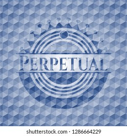 Perpetual blue emblem or badge with abstract geometric polygonal pattern background.