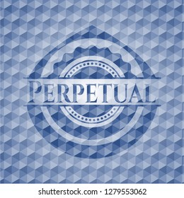Perpetual blue emblem with geometric pattern background.