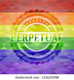 Perpetual emblem on mosaic background with the colors of the LGBT flag