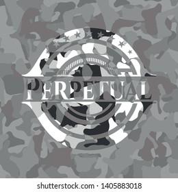 Perpetual grey camouflage emblem. Vector Illustration.