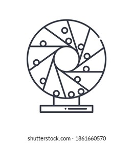 Perpetual motion icon, linear isolated illustration, thin line vector, web design sign, outline concept symbol with editable stroke on white background.