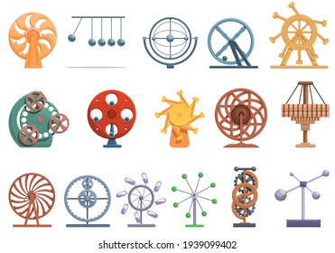 Perpetual motion icons set. Cartoon set of perpetual motion vector icons for web design