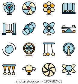 Perpetual motion icons set. Outline set of perpetual motion vector icons thin line color flat on white