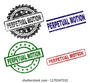 PERPETUAL MOTION seal prints with damaged style. Black, green,red,blue vector rubber prints of PERPETUAL MOTION label with retro style. Rubber seals with round, rectangle, medallion shapes.