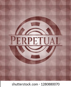 Perpetual red seamless emblem with geometric pattern.
