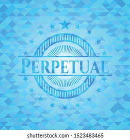 Perpetual sky blue emblem with mosaic ecological style background