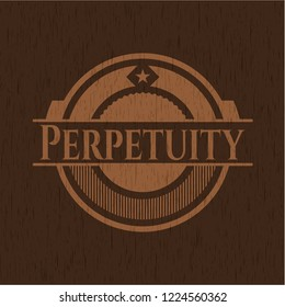 Perpetuity badge with wooden background