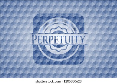 Perpetuity blue emblem or badge with abstract geometric pattern background.