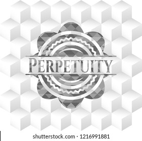 Perpetuity grey emblem. Vintage with geometric cube white background