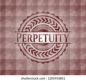 Perpetuity red emblem with geometric pattern. Seamless.