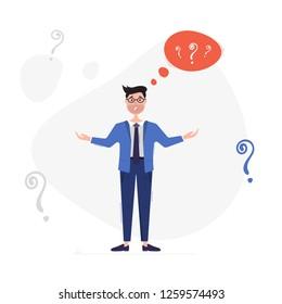Perplexed businessman. Businessman wondering no where to get money. Business concept. Vector illustration on white background