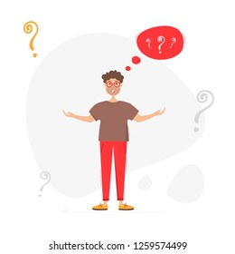 Perplexed man. Man wondering no where to get money. Vector illustration on white background