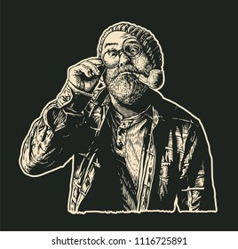 Perplexed Mope-eyed Old Man In Round Glasses With Moustaches, Gray Beard and Smoking Pipe. retro engraving style. vector illustration.
